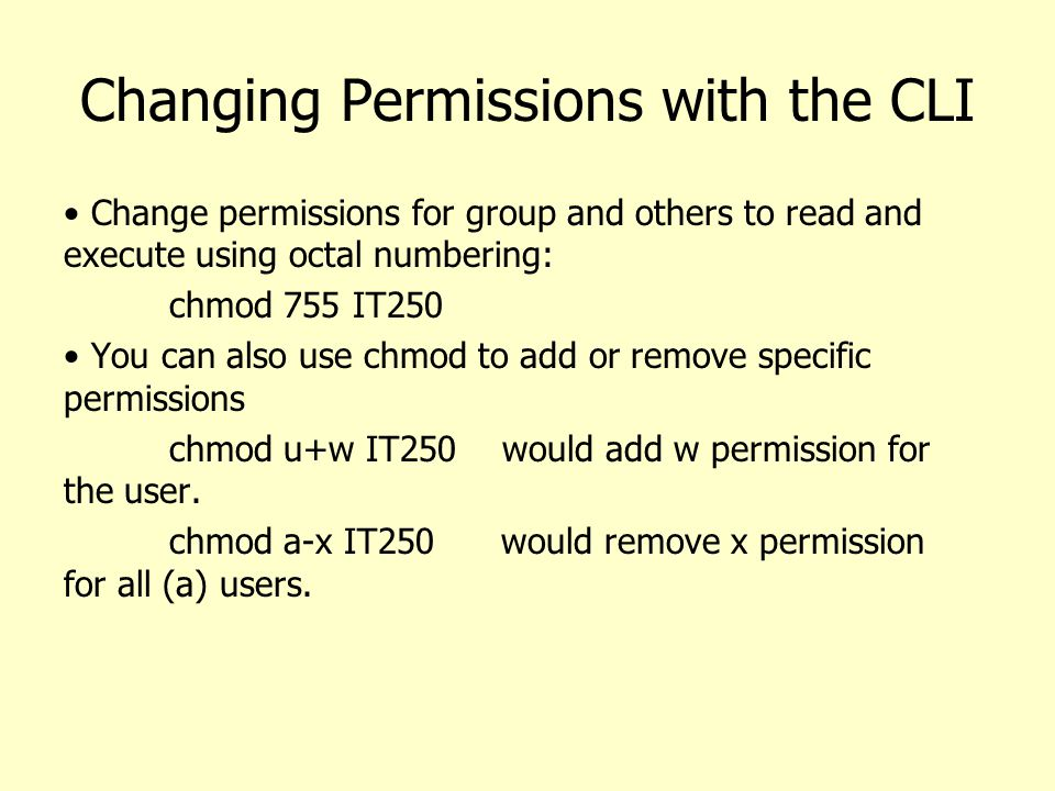 Changing Permissions with the CLI