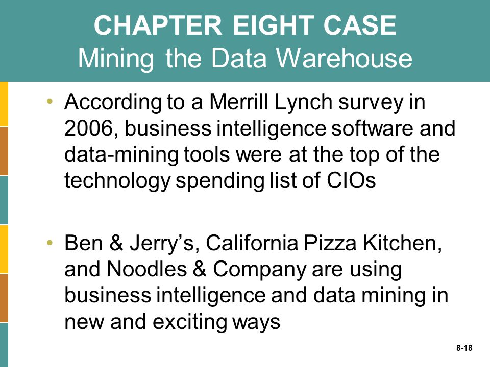 CHAPTER EIGHT CASE Mining the Data Warehouse