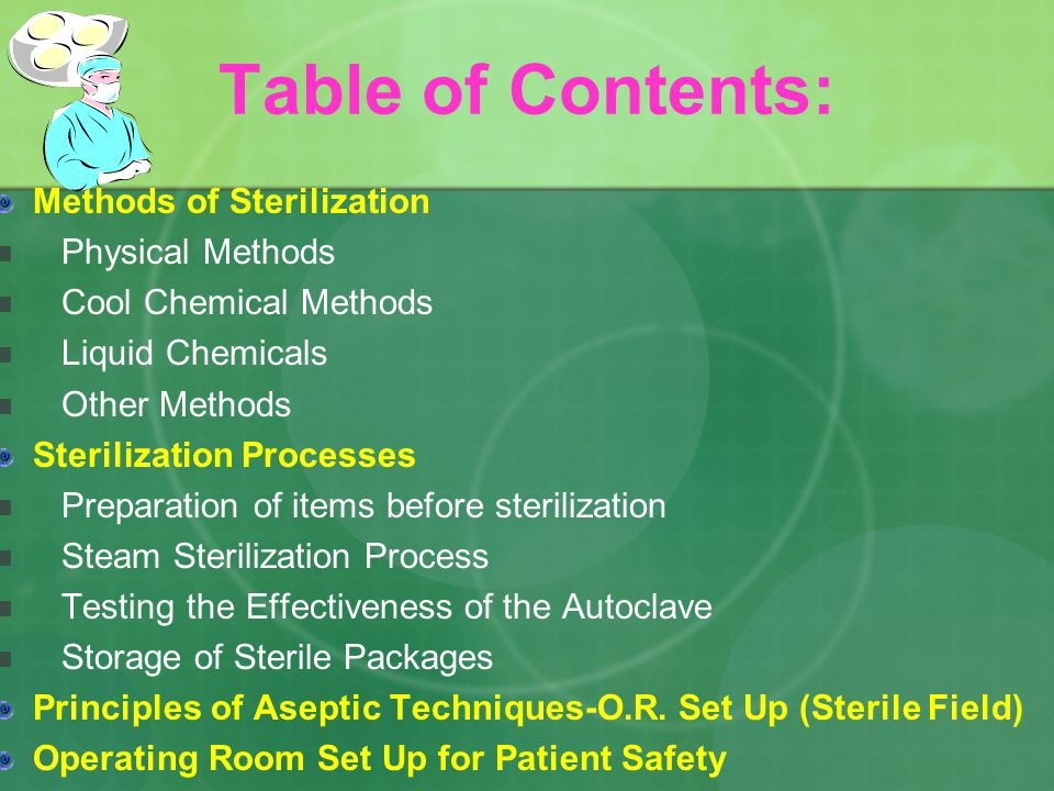 operation theatre sterilization ppt