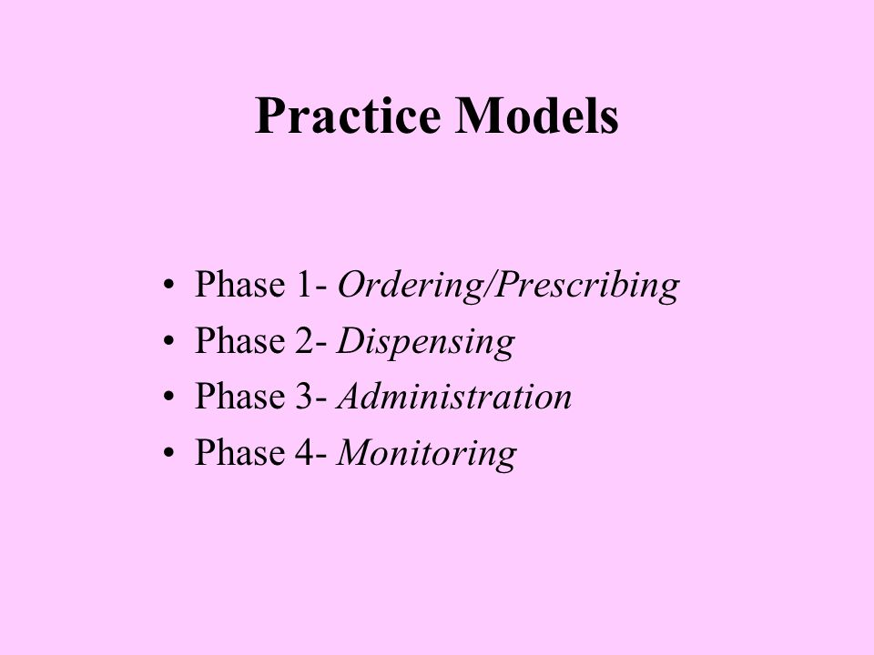 Practice Models Phase 1- Ordering/Prescribing Phase 2- Dispensing