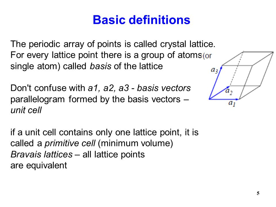 Basic definitions The periodic array of points is called crystal lattice. For every lattice point there is a group of atoms (or.
