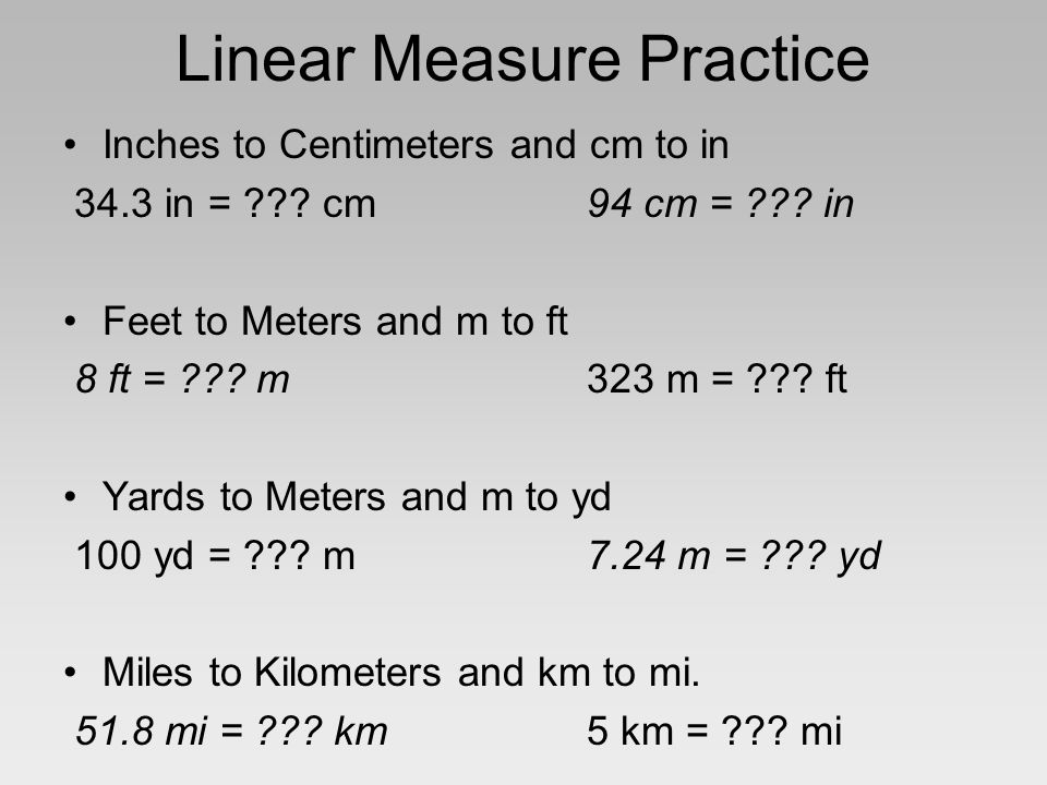 3 Linear Measure Practice Inches To Centimeters And