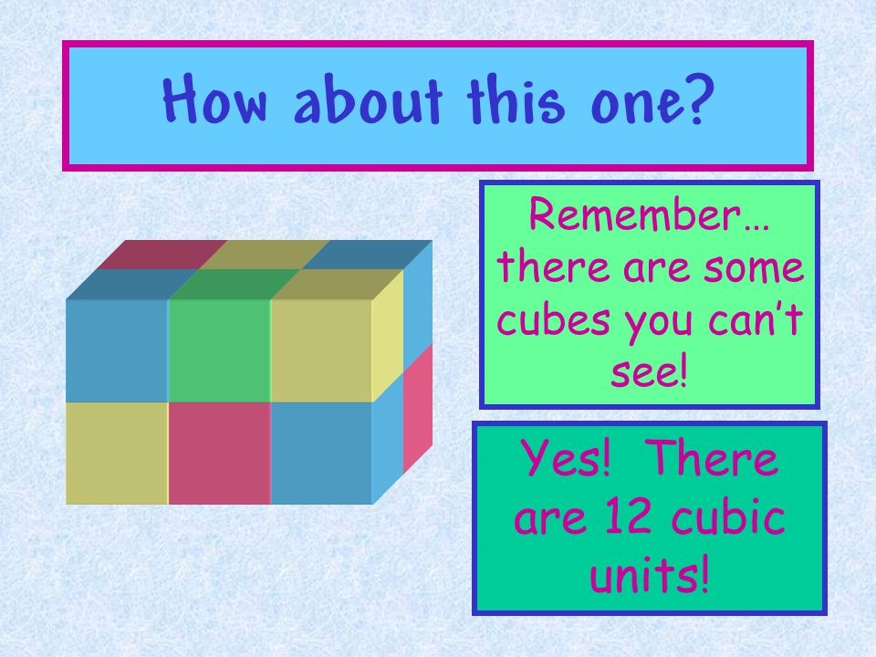How about this one Yes! There are 12 cubic units!