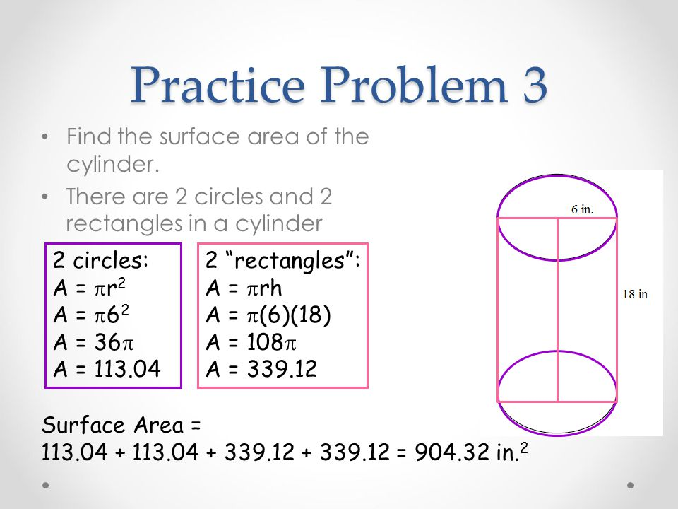 Practice Problem 3 Find the surface area of the cylinder.