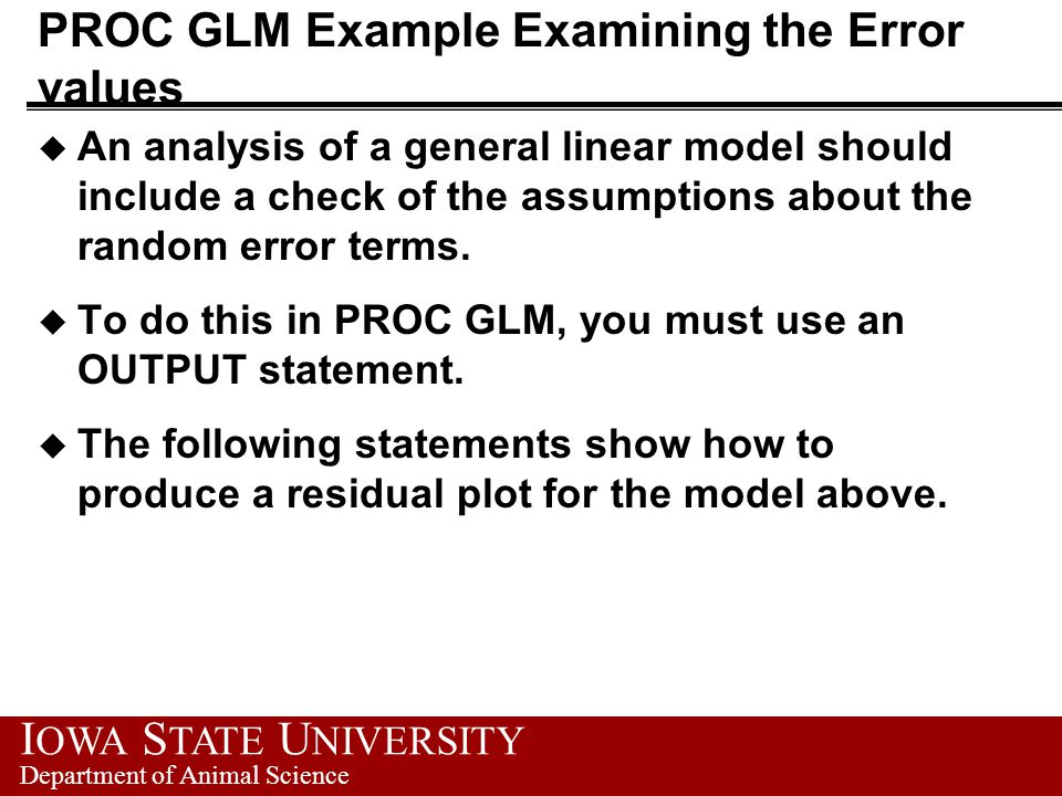 Use of Proc GLM to Analyze Experimental Data - ppt download