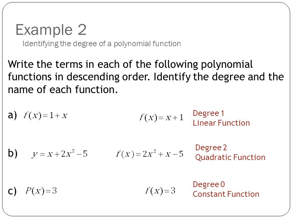 explain how to find the degree of a polynomial