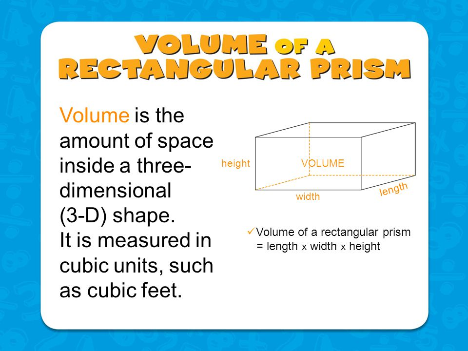 Volume is the amount of space inside a three-dimensional (3-D) shape