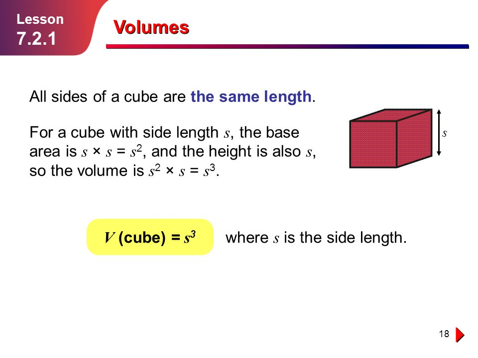Volumes All sides of a cube are the same length.