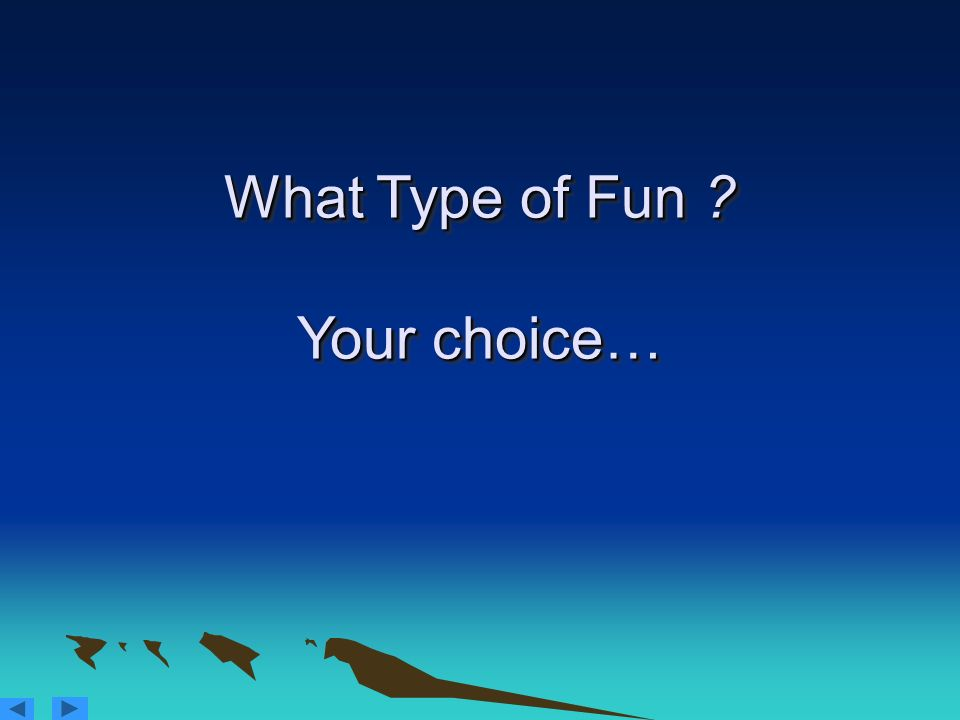 What Type of Fun Your choice…