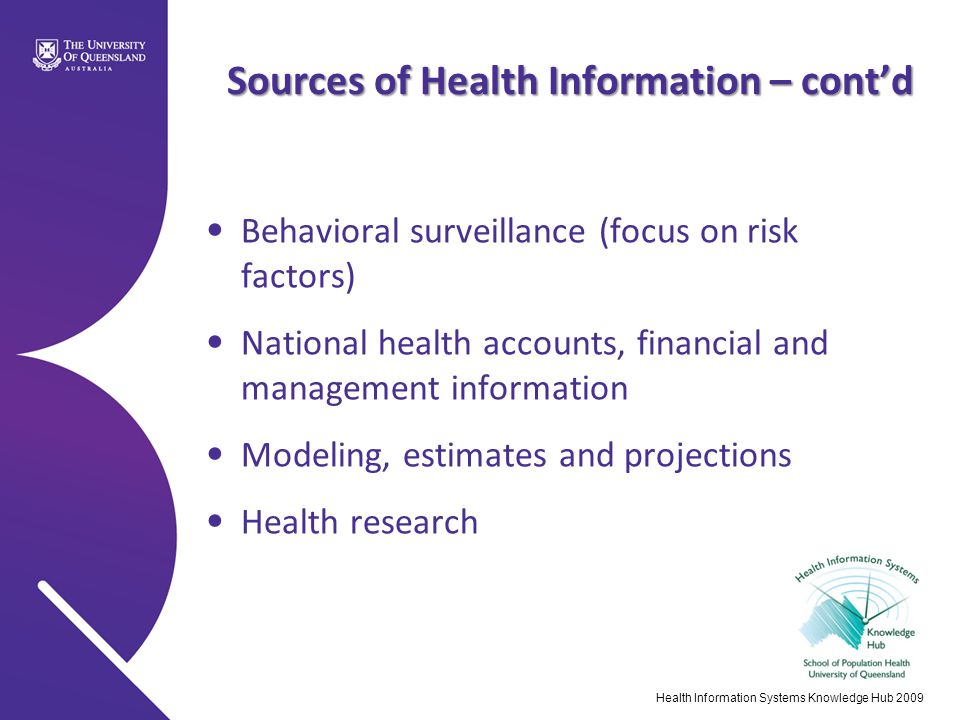 Sources of Health Information – cont'd