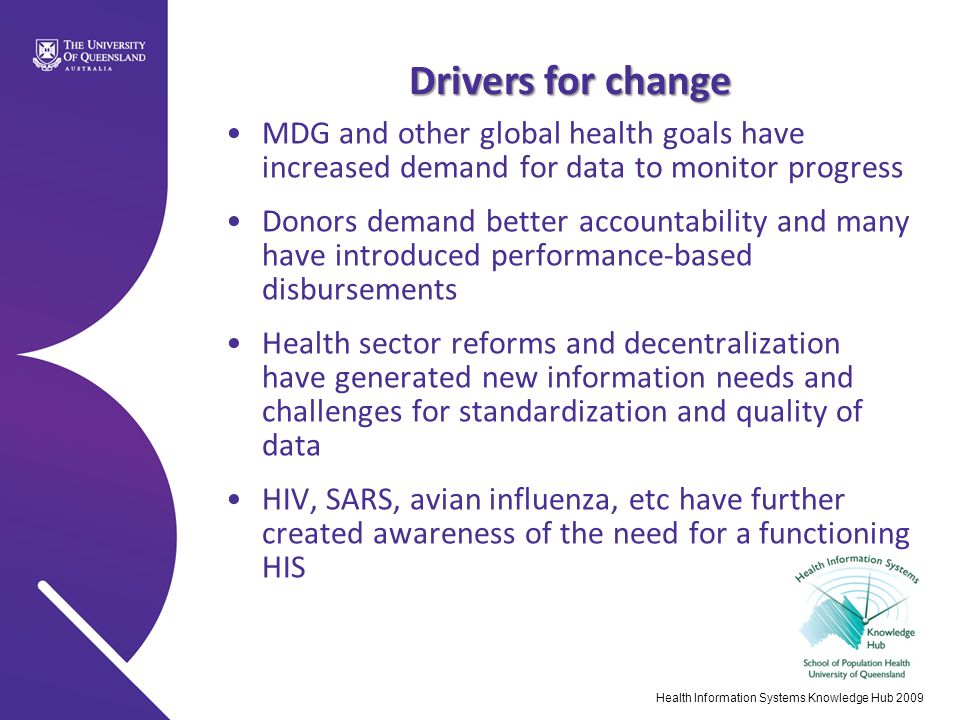 4/16/2017 Drivers for change. MDG and other global health goals have increased demand for data to monitor progress.