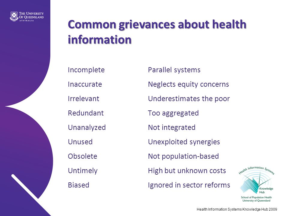 Common grievances about health information