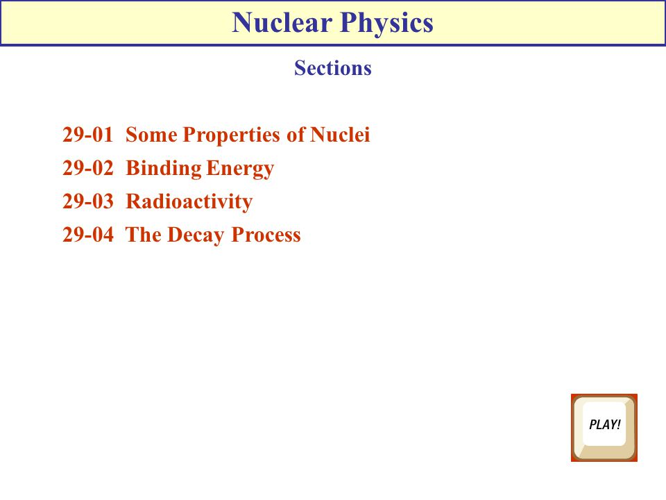 Chapter 30 Nuclear Physics Ppt Download