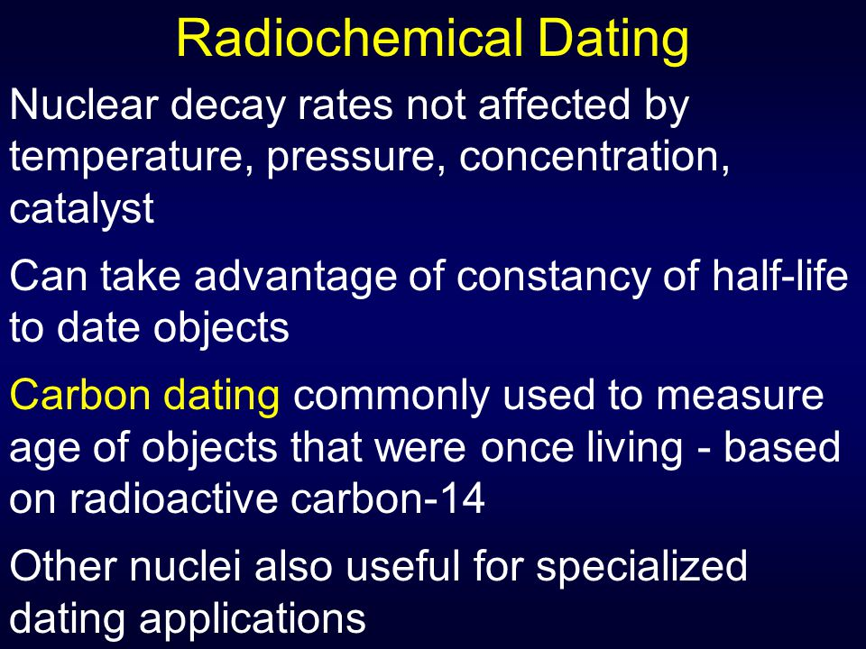 Definition of radiochemical dating in chemistry