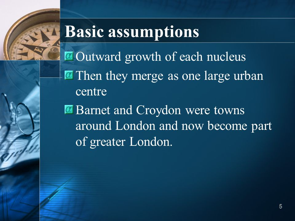Basic assumptions Outward growth of each nucleus