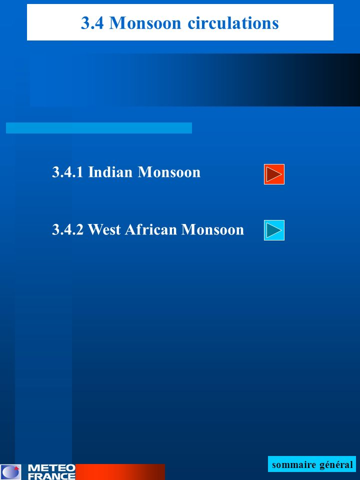 3.4 Monsoon circulations Indian Monsoon