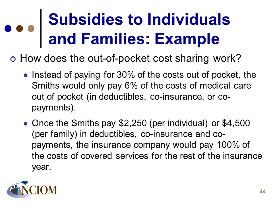 Subsidies to Individuals and Families: Example
