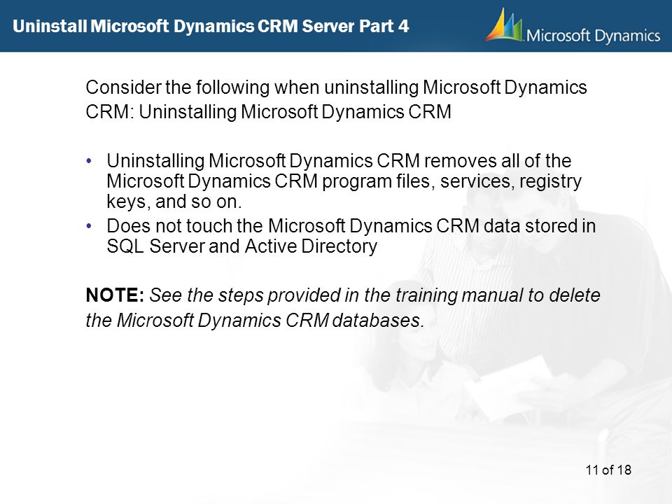 Uninstall Microsoft Dynamics CRM Server Part 4
