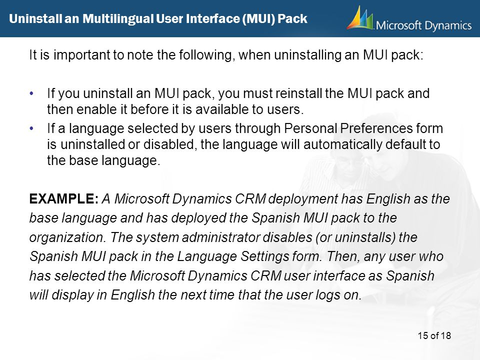 Uninstall an Multilingual User Interface (MUI) Pack