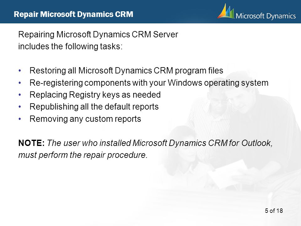 Repair Microsoft Dynamics CRM