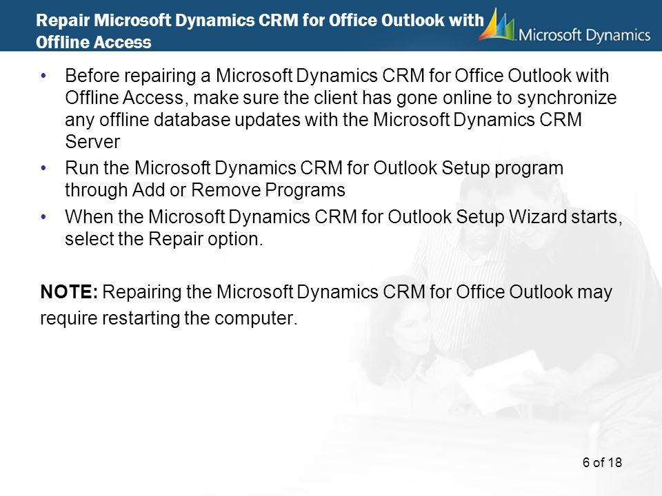 Repair Microsoft Dynamics CRM for Office Outlook with Offline Access