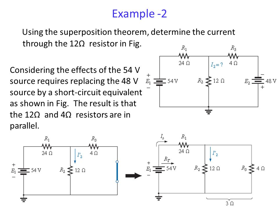 Example -2 Using the superposition theorem, determine the current through the 12Ω resistor in Fig.