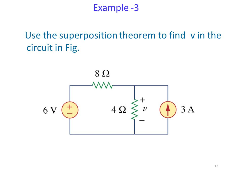 Example -3 Use the superposition theorem to find v in the circuit in Fig.