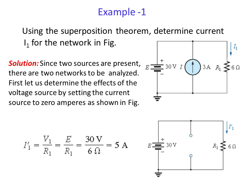 Example -1 Using the superposition theorem, determine current I1 for the network in Fig.