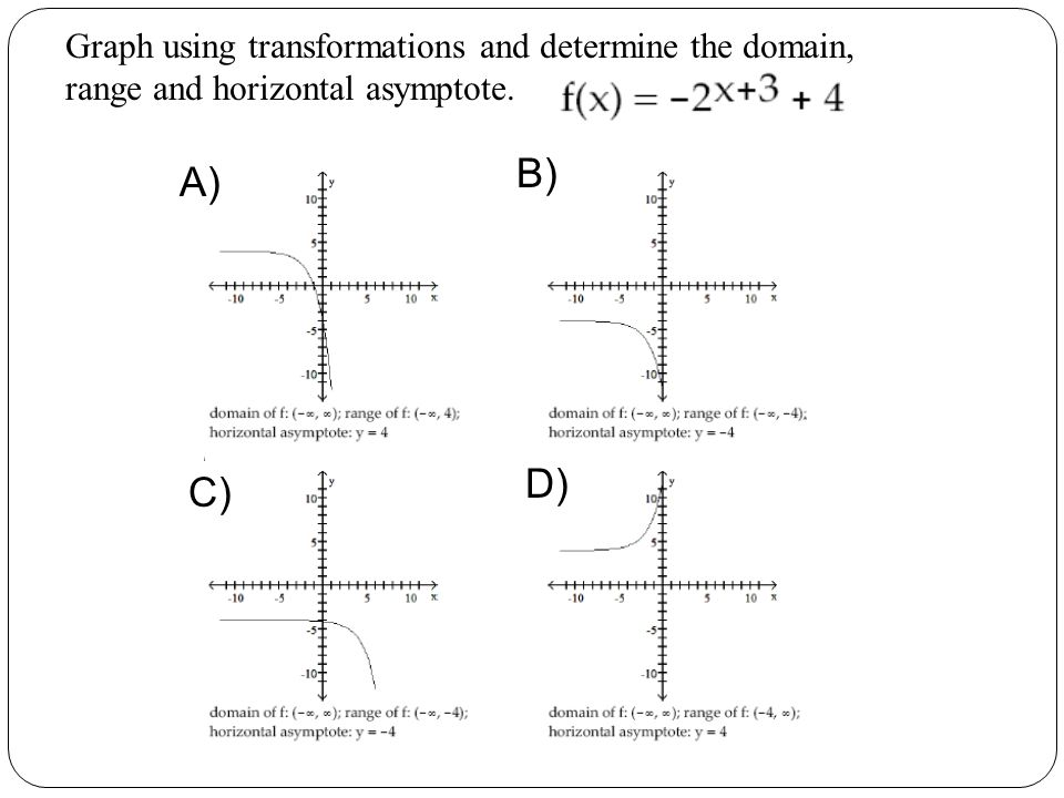 Graph using transformations and determine the domain, range and horizontal asymptote.