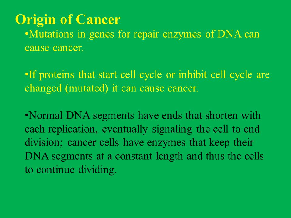 Origin of Cancer Mutations in genes for repair enzymes of DNA can cause cancer.
