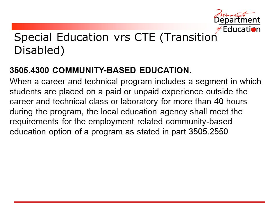 Special Education vrs CTE (Transition Disabled)