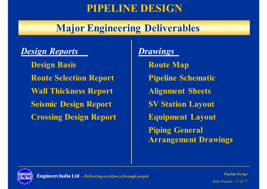 Pipeline Design Delivering Excellence Through People Ppt Download Piping Layout Engine Schematic Major Engineering Deliverables