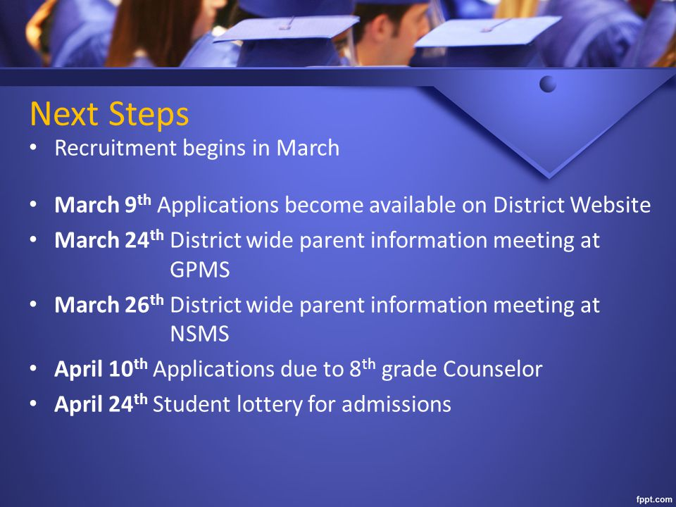 Next Steps Recruitment begins in March