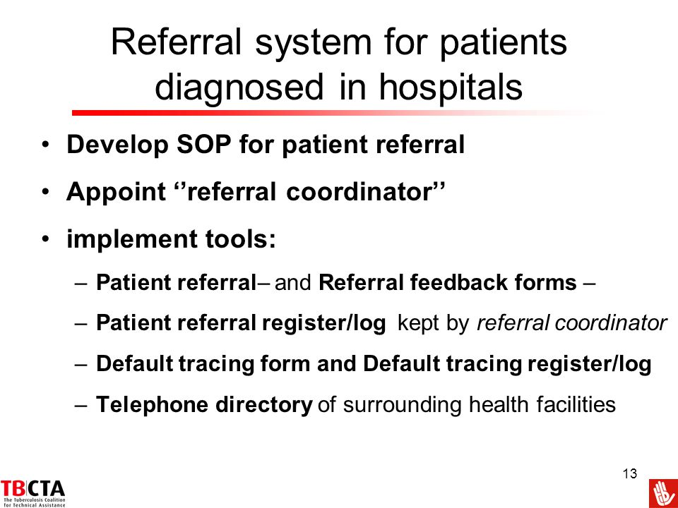 Referral system for patients diagnosed in hospitals
