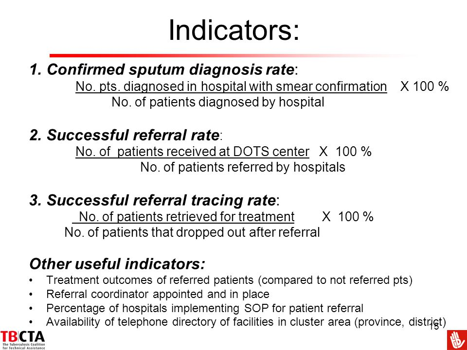 Indicators: Confirmed sputum diagnosis rate: Successful referral rate: