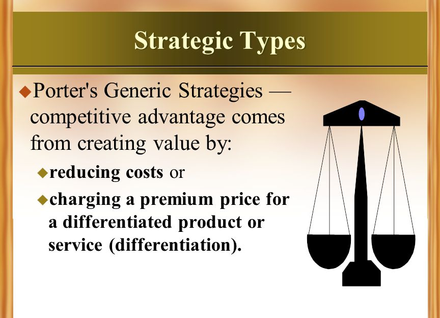 Strategic Types Porter s Generic Strategies —competitive advantage comes from creating value by: reducing costs or.