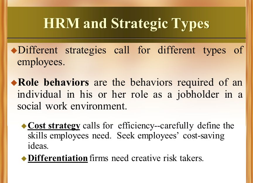 HRM and Strategic Types