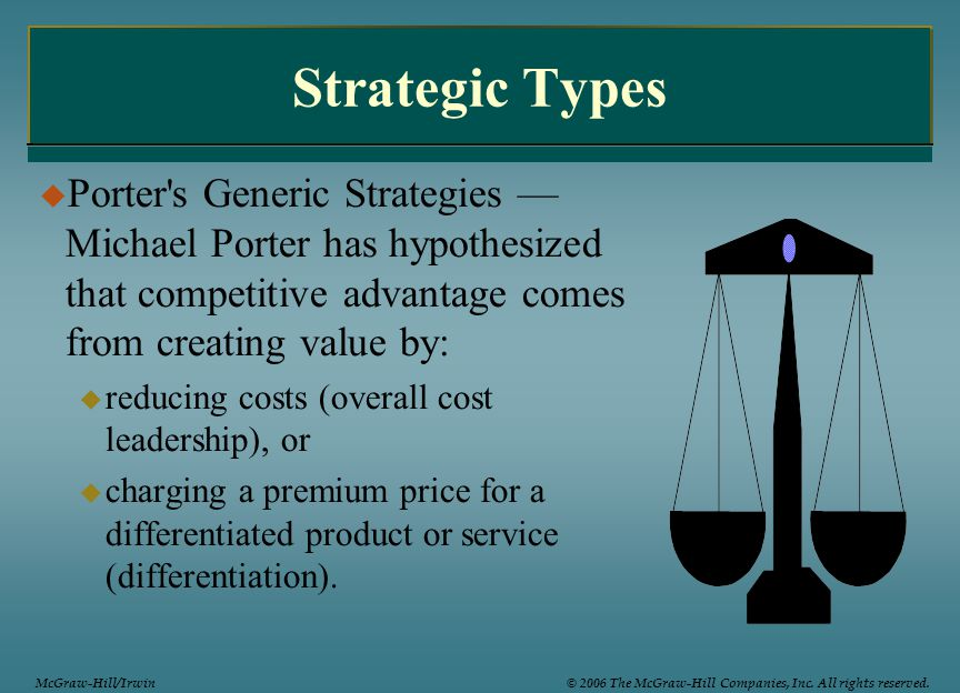 Strategic Types Porter s Generic Strategies —Michael Porter has hypothesized that competitive advantage comes from creating value by: