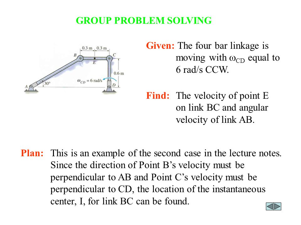 Instantaneous center ic of zero velocity section 166 ppt group problem solving given the four bar linkage is moving with wcd equal to 6 ccuart Image collections