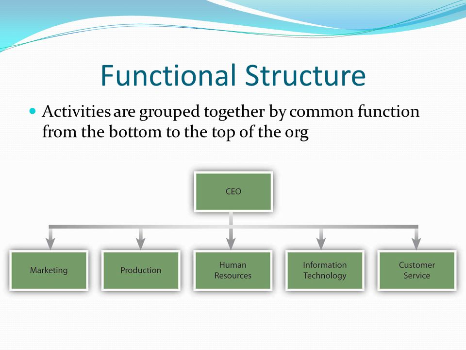 Functional Structure Activities Are Grouped Together By  mon Function From The Bottom To The Top Of The Org additionally Pabfuncstructure also Organizational Structure For Business additionally Startups Organizational Structures furthermore Gxsx Npy. on functional organizational structure chart