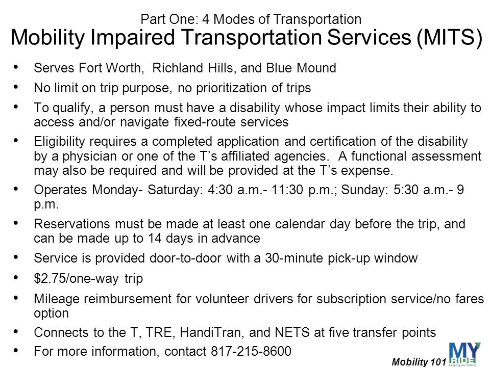 Mobility Impaired Transportation Services (MITS)