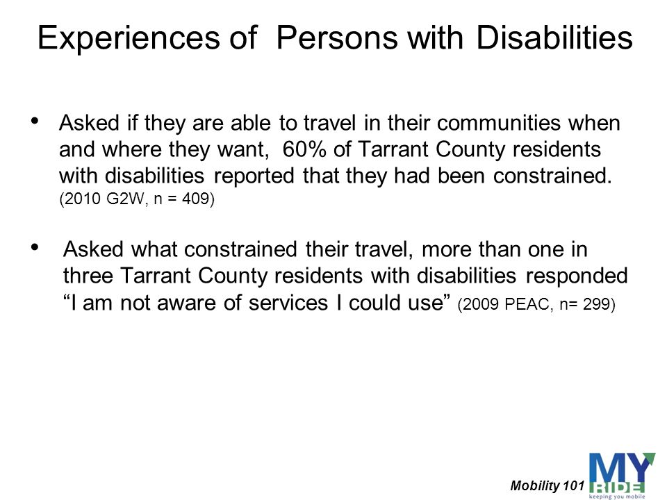 Experiences of Persons with Disabilities
