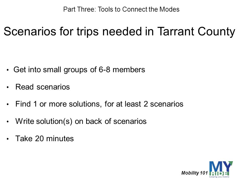 Scenarios for trips needed in Tarrant County