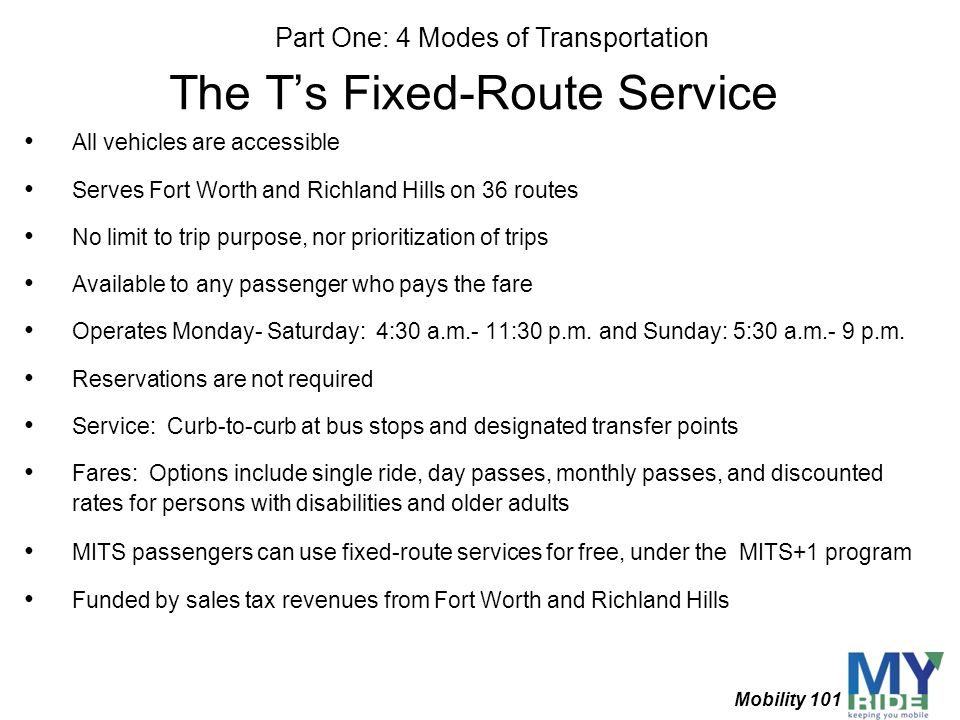 The T's Fixed-Route Service
