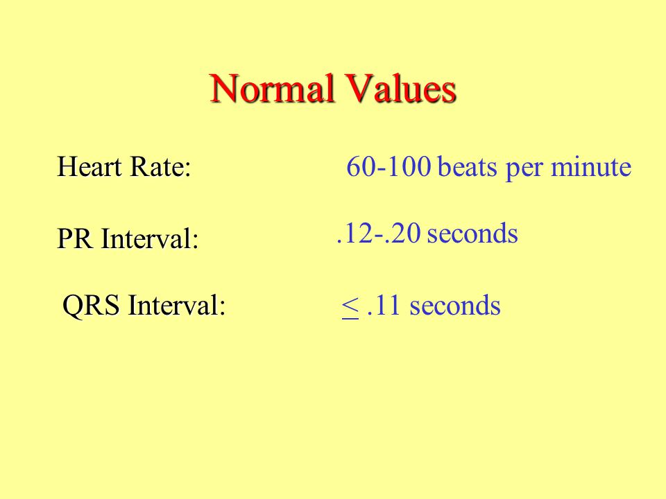 Normal Values Heart Rate: beats per minute seconds