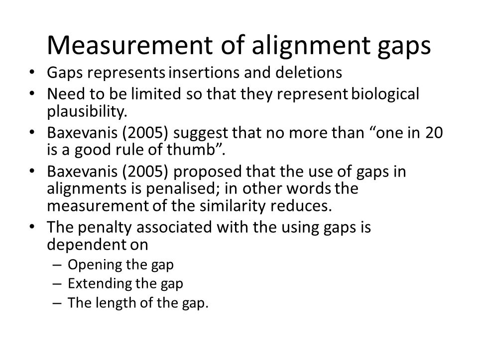 Measurement of alignment gaps