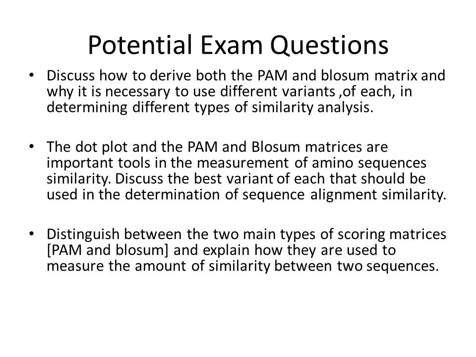 Potential Exam Questions