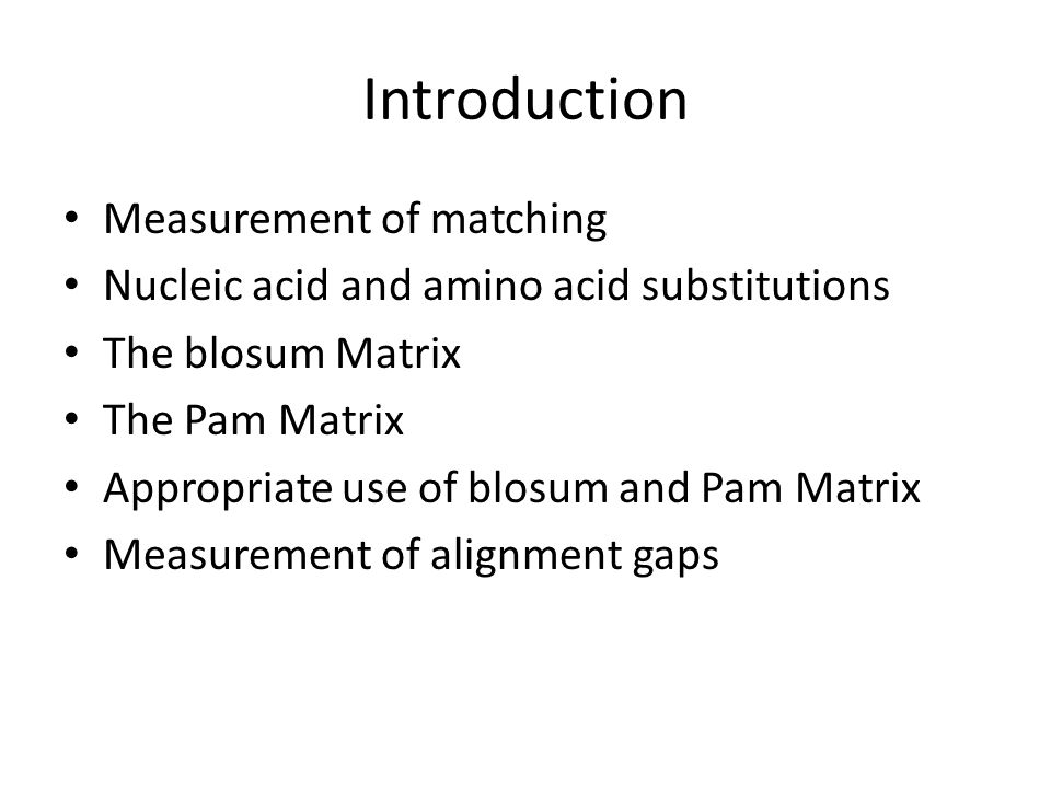 Introduction Measurement of matching