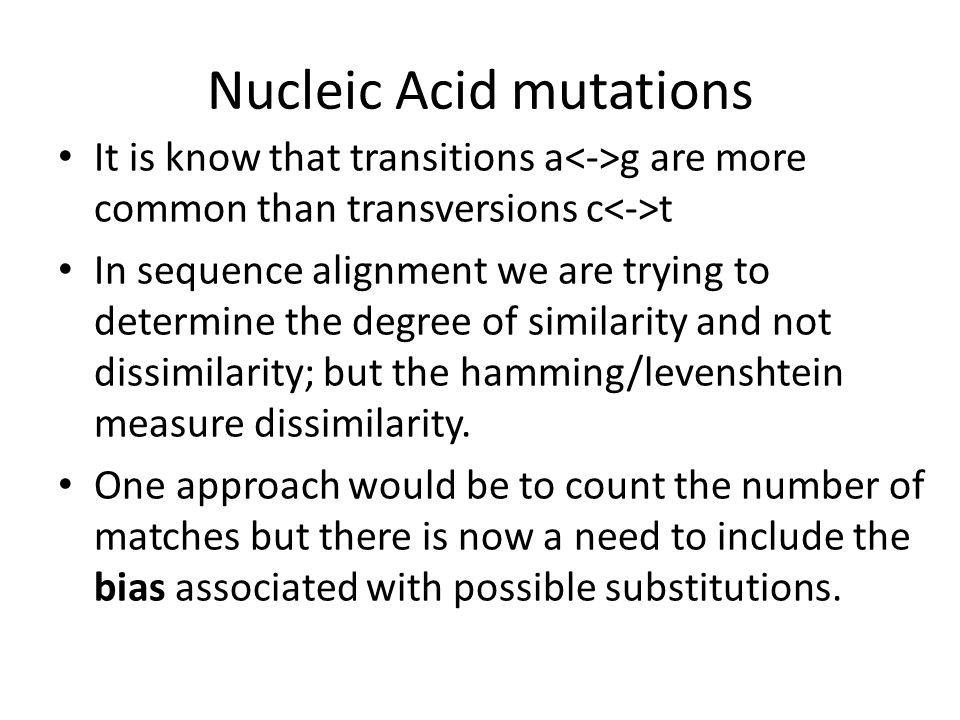 Nucleic Acid mutations