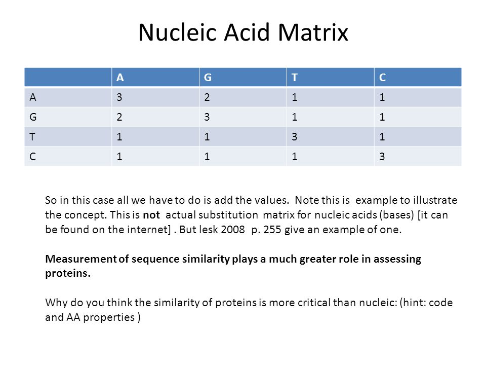Nucleic Acid Matrix A G T C 3 2 1